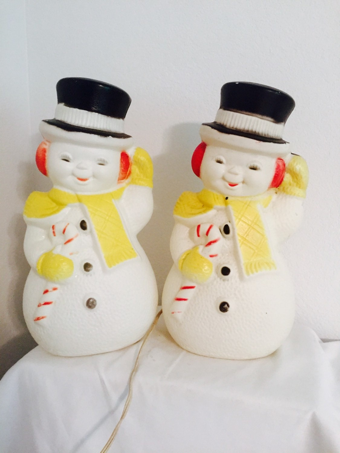 Whimsical snowman lighted plastic blow mold set of two 13 for Plastic snowman