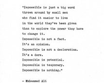 "Muhammed Ali Inspirational Quote ""Impossible is Nothing"" Vintage Typewriter Hand Typed Print Boxing Print Heavyweight Champion Cassius Clay"