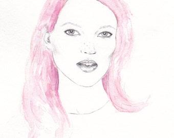 A4 Kate Moss Illustration Print