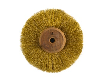 "Circular Brass Brush Tool w/ 4"" Crimped Wires Metal Jewelry Cleaning Polishing - BRUS-0005"