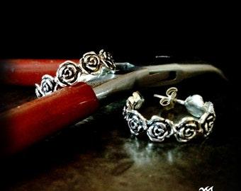 Depeche Mode earrings, roses hoop earrings, vintage roses earrings, floral earrings, romantic rose earrings, flowers earrings, music loves