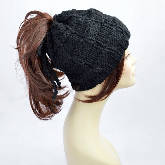 Black Ponytail Hat Scarf Ponytail Beanie Transformer Hat