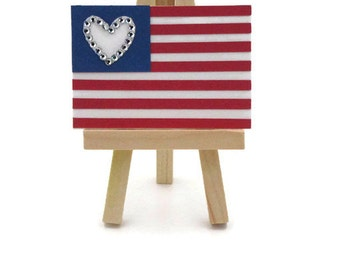 Miniature American Flag on Easel, Paper Flag with Crystals, 4th of July Decor, Patriotic Sign, Mixed Media Assemblage