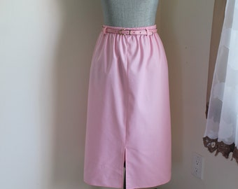 1980s Pink Skirt by Julan, Size 12 Unlined Light with Matching Belt Kick Pleat