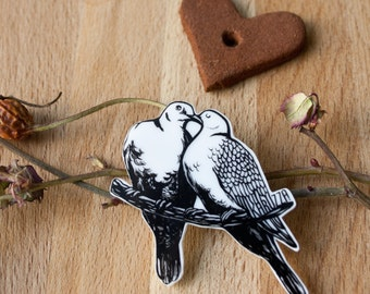 Dove brooch,Wedding brooch,Unique brooch,Plastic Brooch,valentine gifts for girls,Fun brooch,Accessories,original gift,Pin Badge Boutonniere
