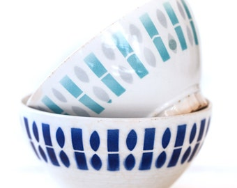 1950s French Cafe au Lait Bowls - Set of 2 - Badonviller White and Blue - Free Shipping within the USA
