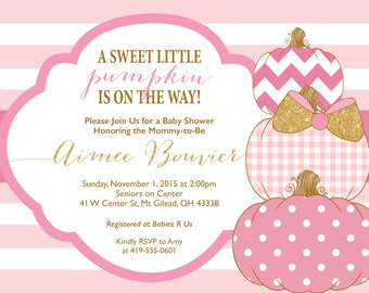 Sweet Little Pumpkin Baby Shower Invitation DIGITAL FILE