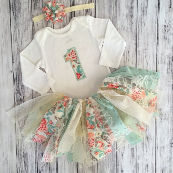 Coral and mint first birthday outfit shabby chic by mksbowtique - Shabby chic outfit ideas ...