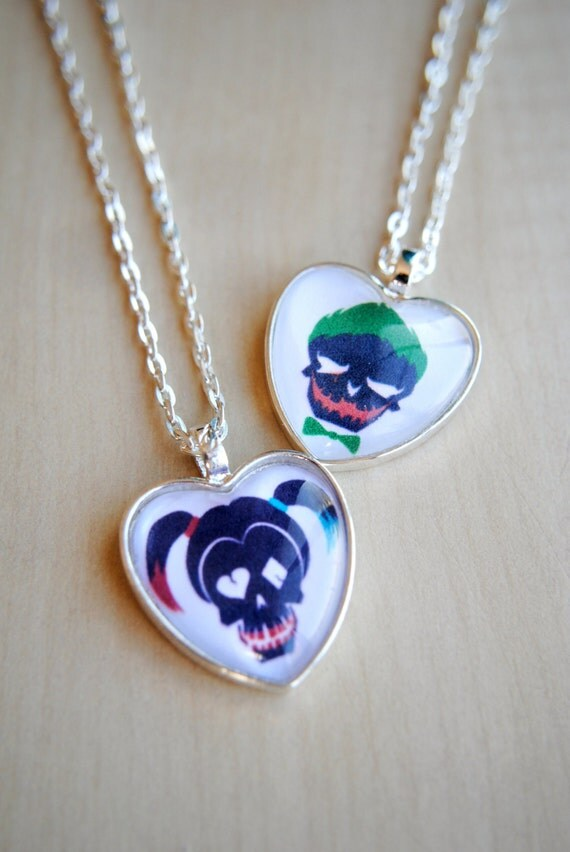 Suicide squad pendants harley quinn or the joker suicide for Harley quinn and joker jewelry