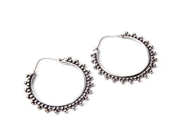 White Brass Afghani Dots Hoop  Earrings Tribal Earrings Mandala Jewellery Free UK Delivery Gift Boxed WB16