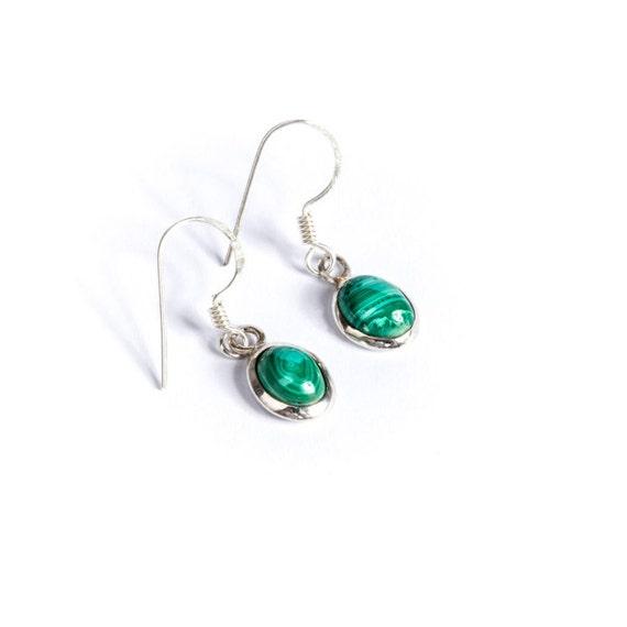 Dangle Malachite Gemstone Sterling Silver Earrings Simple Jewellery Dainty Jewellery  Free UK Delivery Gift Boxed