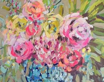 Modern Art Print, various sizes, flowers, roses, blue vase, ginger jar