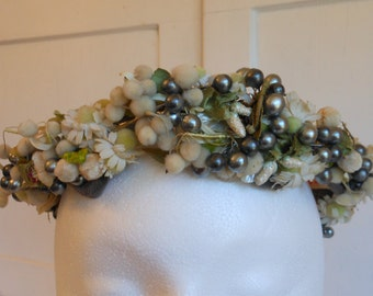 1950s Off White Ivory and Silver Floral Crown Fascinator with White Flowers, Green and Iridescent White Leaves TALBERT