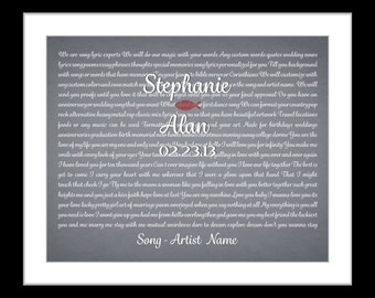 Song lyric art custom wedding gift, personalized anniversary present wedding vows keepsake print unique anniversary gift for bride and groom