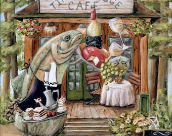 Cabin Kitchen Art   Kitchen Print Fish   Lake Cottage Kitchen Print   Rustic Cabin North Woods Kitchen   Bear On Bike