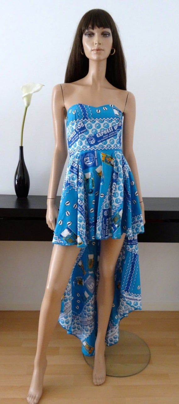 robe bleue bustier wax tissu africain money billets taille 36. Black Bedroom Furniture Sets. Home Design Ideas