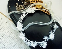Antique French Bridal Crown Wreath with Beads and Flowers
