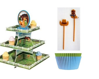 Horse Cupcake Stand with baking cups and Western Cupcake Picks