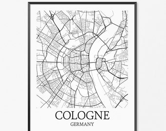 Cologne Map Art Print, Cologne Poster Map of Cologne Decor, Cologne City Map Art, Cologne Gift, Cologne Germany Art Poster