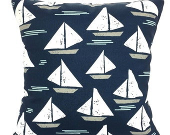 OUTDOOR Navy White Pillow Covers Sailboat Throw Pillow Cushion Navy Blue White Cape May Sailboat Patio Sun Room One or More All Sizes
