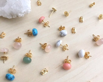 Gemstone Studs 2 Pair Set Gold Plated or Surgical Steel Posts | Hypoallergenic Sensitive Skin Safe Mix and Match BFF Sets