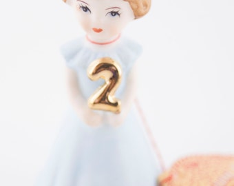Vintage Growing Up Birthday Girls Porcelain figurine year two. 1982 made in Shrilanka