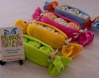Baby Washcloth PeaPods. UK. Maternity, shower or newborn gift