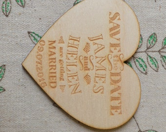 Wooden Engraved Heart Shaped Personalised SAVE THE DATE Wedding Fridge Magnets