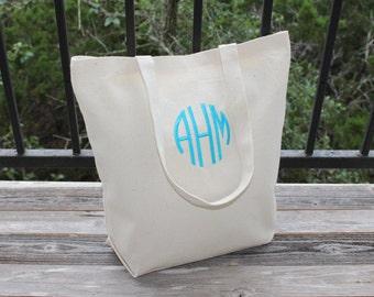 Monogrammed Bag Natural Canvas Tote Bag (Circle Monogram - Choose your monogram color!)