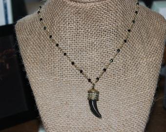Black Beaded Mosaic Tusk Necklace