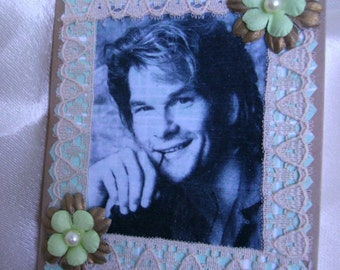 Notebook.Mini notebook.Christmas gift.Altered composition notebook.Mothers day.Journal.Patrick Swayze.Gift for her.Women accesories.