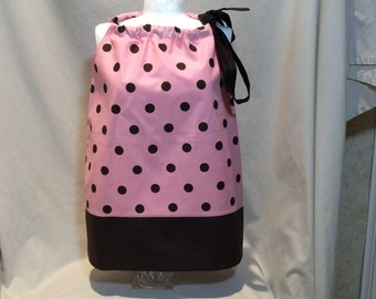 Brown and Pink Polka Dot Pillowcase Dress, 2T and 12 month
