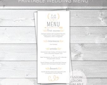 Peach/Gray Printable Wedding Menu | Whimsical | Custom Colors Available