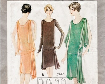 1920s 20s repro vintage sewing pattern flapper day or evening dress bias cut drop waist large bust 40 reproduction
