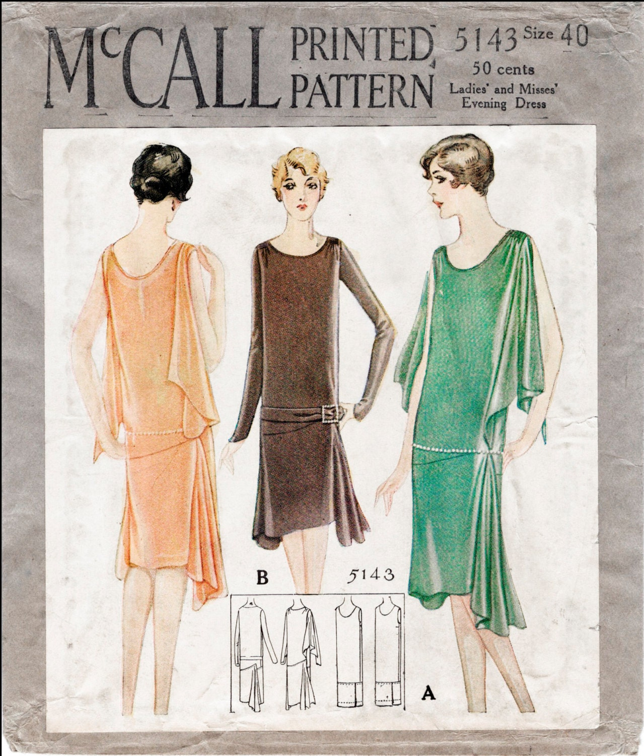 1920s 20s repro vintage sewing pattern flapper day or evening