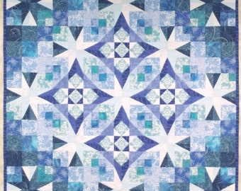 Wall Quilt, Quilted Wall Hanging, Fiber Art Quilt, Textile Art Quilt, Winter Themed Blue and White Snowflake Holiday Decor, Frost in the Air