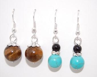 2 x PAIRS Earrings, Turquoise Stone, Tiger Eye Gemstone Earrings, Drop Earrings ,Handmade , Beaded, Dangle Earings ,Boho ,Gift For Her