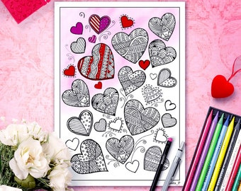 Zentangle hearts coloring page for adults, valentines printable coloring, valentine day gifts, valentine coloring pages