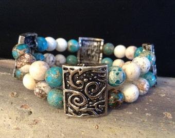 Imperial Jasper and Magnesite Double Strand Cuff Bracelet!  Item B166