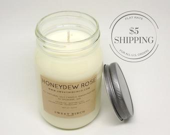 Honeydew Melon Candle - Honeydew Rose - Honeydew Melon - Large Summer Scent