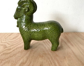 Mid Century Ceramic Pottery Intaglio Glazed Ram in the Style of Bitossi