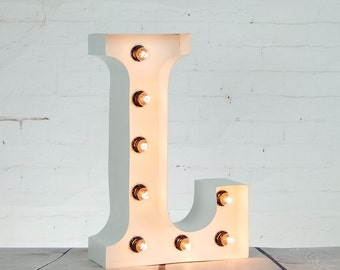 "15""/ 38cm Mains Powered Vintage Marquee Letter Light - Letter L - Floor Light - Wedding Prop/Display - Available in Rusty, Red or White"