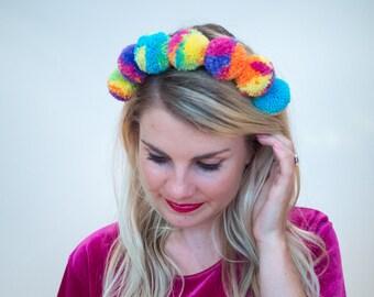 Multicoloured Pom Pom Headband