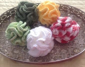 Bath poufs, crochet bath pouf, bath sponges, cotton body wash, various colors, bridal shower favors, bridesmaid thank you gift, eco friend
