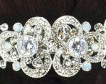 New Bridal Art Deco Crystal Cluster Hair Barrette 3 1/2'' - Leverback
