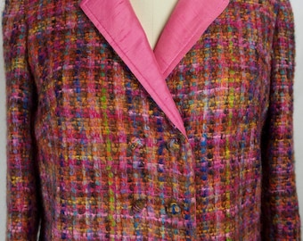 Vintage 1960s Boucle Suit-Bright Colors- Boxy Jacket and Fitted Skirt-Modern size 6/8