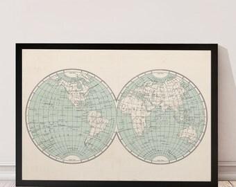 Vintage map, Map print, Mapamundi, World map print, Distressed art, Vintage art print, Travel print, Travel map, World map poster, Vintage