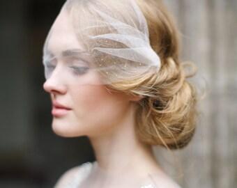 Silk tulle bandeau veil with sapphires, rhinestone birdcage veil, simple birdcage veil, headband veil, wedding veil, bridal veil, Style V36