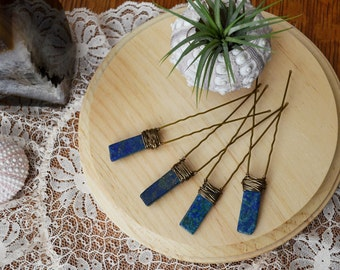 Lapis Lazuli Hair Pins, Set of four (4) pieces