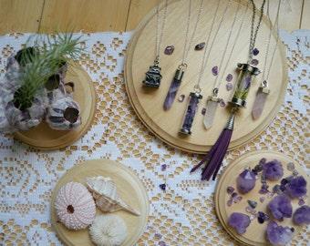 Amethyst Crystal Necklace, Quartz Crystal Pendant, Terrarium Necklace, Pagoda Necklace